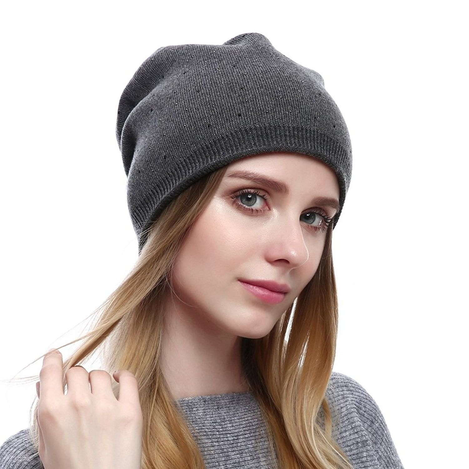 af2bc158b10 Women s Wool Knit Beanie Hats With Rhinestone - Grey - CP186H55E2X - Hats    Caps