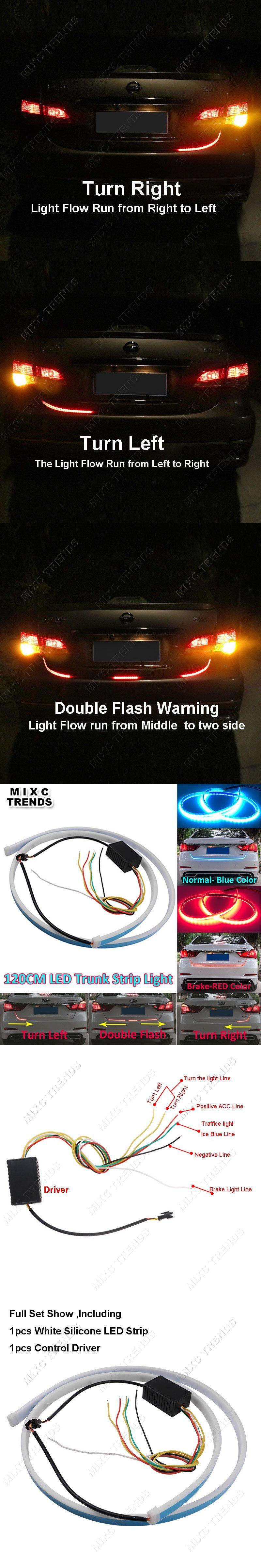 120cm car styling led strip lighting rear trunk tail light red 120cm car styling led strip lighting rear trunk tail light red dynamic streamer brake turn signal aloadofball Images