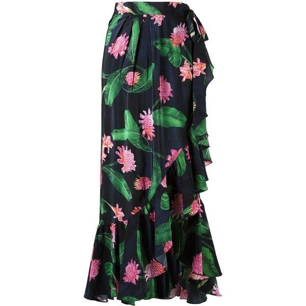 Isolda High-Waisted Midi Skirt (16 485 ZAR) ❤ liked on Polyvore featuring skirts, blue, high-waisted midi skirts, mid calf skirts, flounce skirt, high-waisted skirts and silk skirt