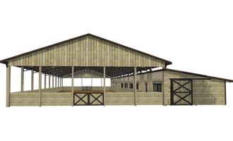 Canyon arena stables kit covered riding arena kit for Horse barn house combo plans