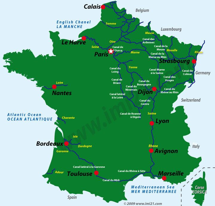 map of the main navigable waterways in france
