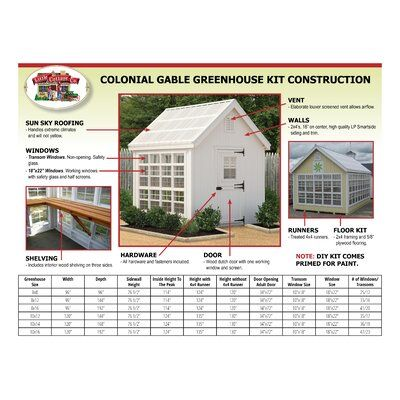 Photo of Little Cottage Company Colonial Gable 8 Ft. W x 12 Ft. D Hobby Greenhouse | Wayfair