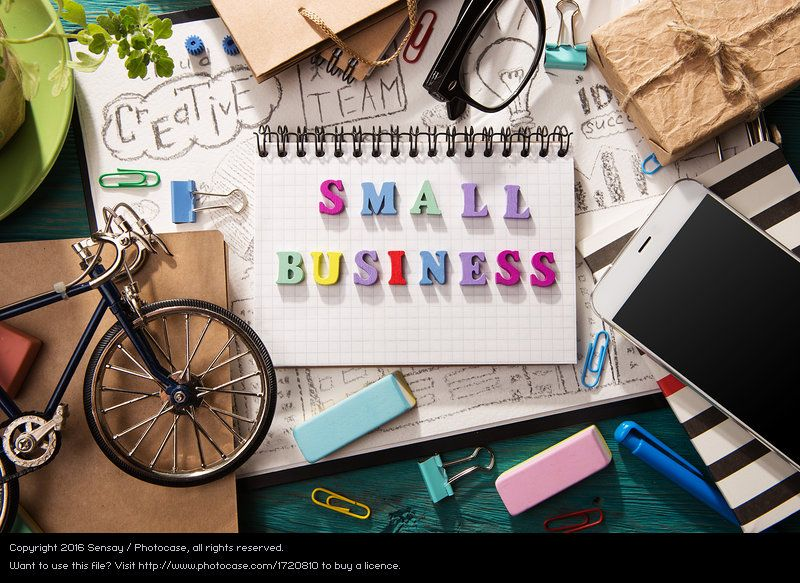 Small business concept - letters on the desk, flat lay inspiration