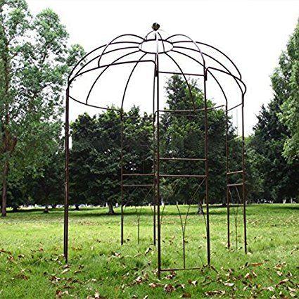 Outour 4 Sided Birdcage Shape Metal Gazebo Trellis Arch Wrought