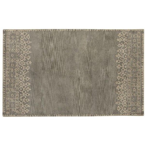 New Brand Devlin Persian Rug Handmade 100 Wool Area Rugs: Desa Bordered Wool Rug Gray ($169) Liked On Polyvore