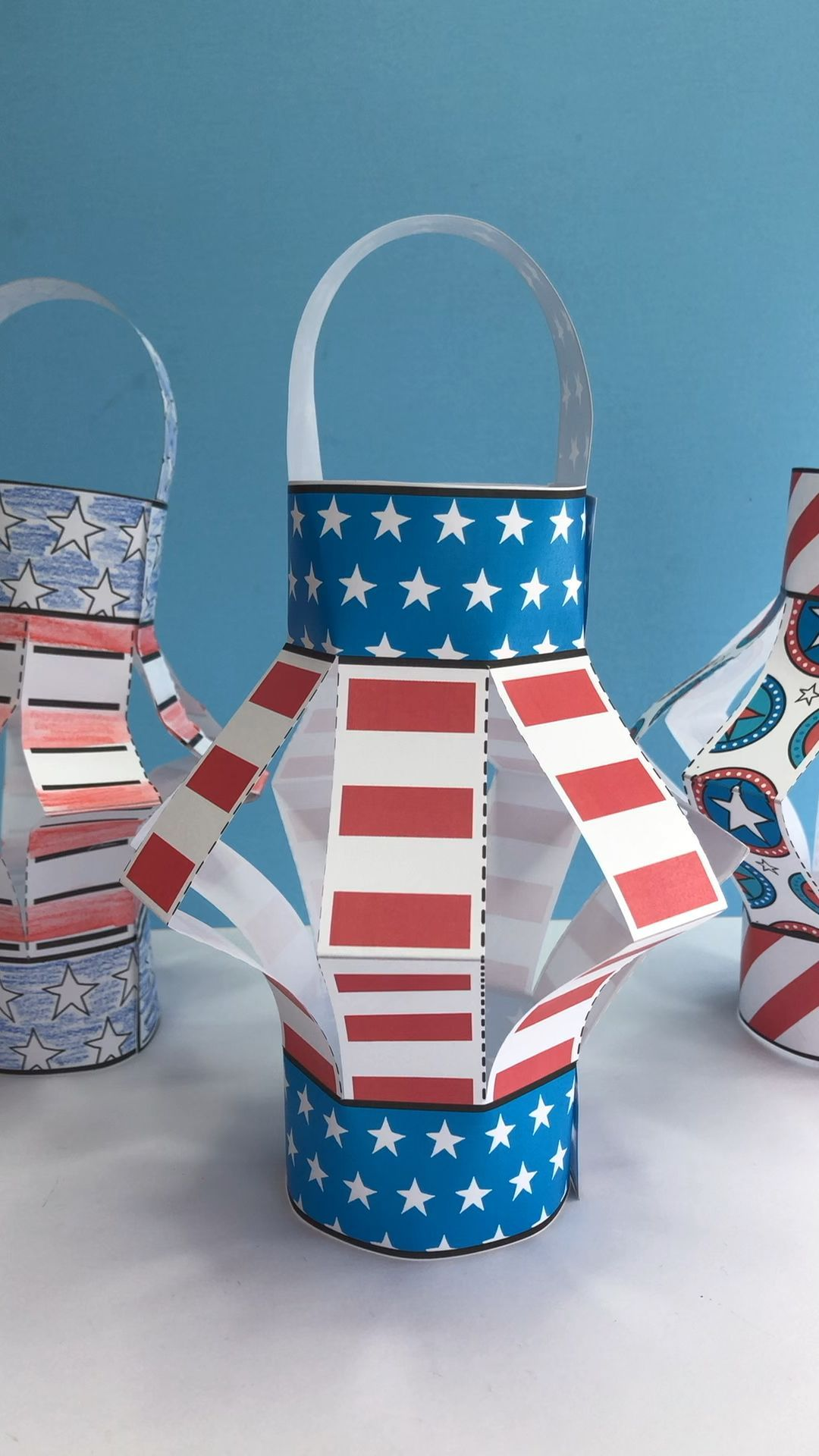 Paper American Flag Lantern Craft for Kids  A great paper craft for Memorial Day, Flag Day Or 4th July! Make these American Flag Lanterns. Love #American #Craft #Flag #kids #lantern #Paper