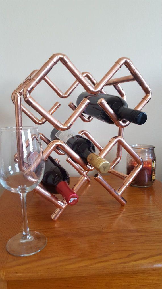 6 Bottle Copper Wine Rack By Mattsindustdecor On Etsy Copper Wine Rack Wine Rack Hanging Wine Rack