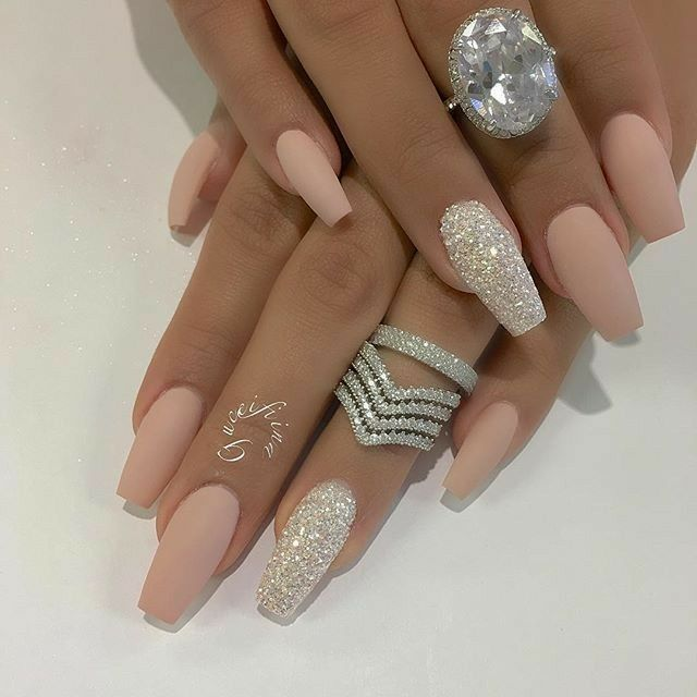 Tapered Square Nails Acrylic Nails Glitter Nails Matte Nails Bling Nails Nails Luxury Nails