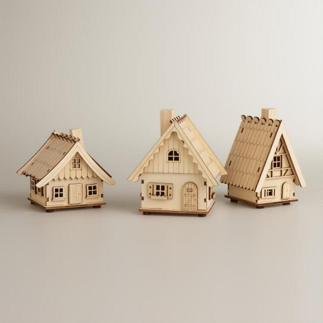 Laser cut wood houses set of 3 carte et deco gravure laser d coupe laser et bricolage noel for Deco laser maison
