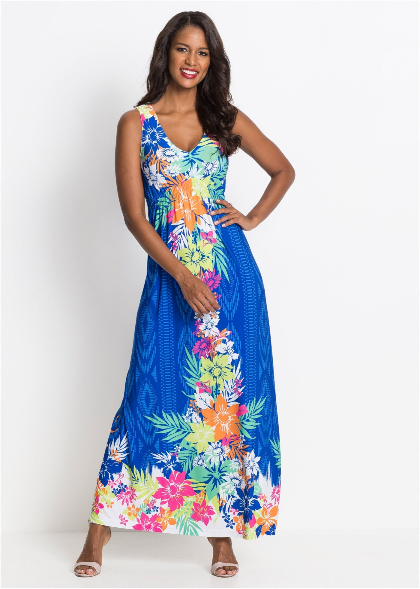 Farbenfrohes Sommerkleid in Maxilänge - blau geblümt  Sommerkleid