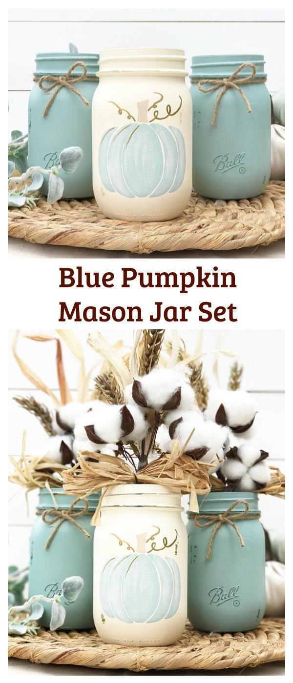 Blue Pumpkin Mason Jar Set | Autumn, Home Decor, Fall Decor ...