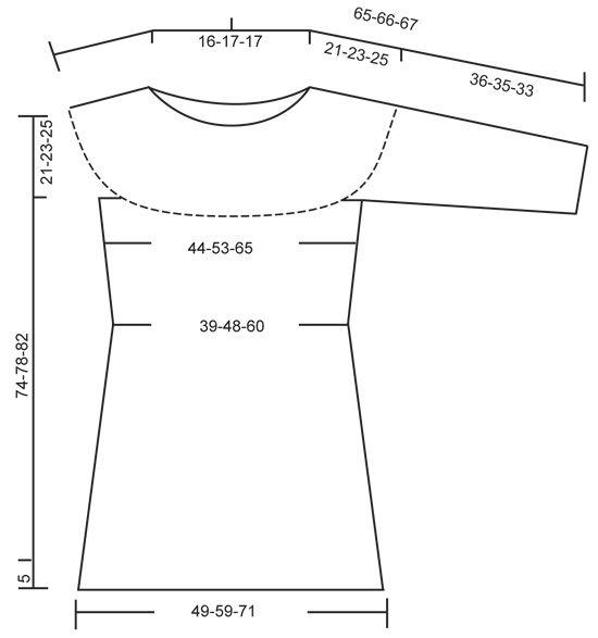 Gebreide DROPS jurk met ronde pas en kantpatroon van Big Merino. Maat: S - XXXL.