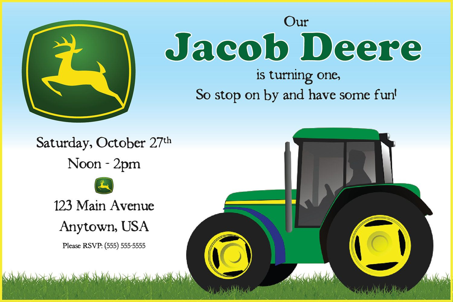 John Deere Invitations Etsy