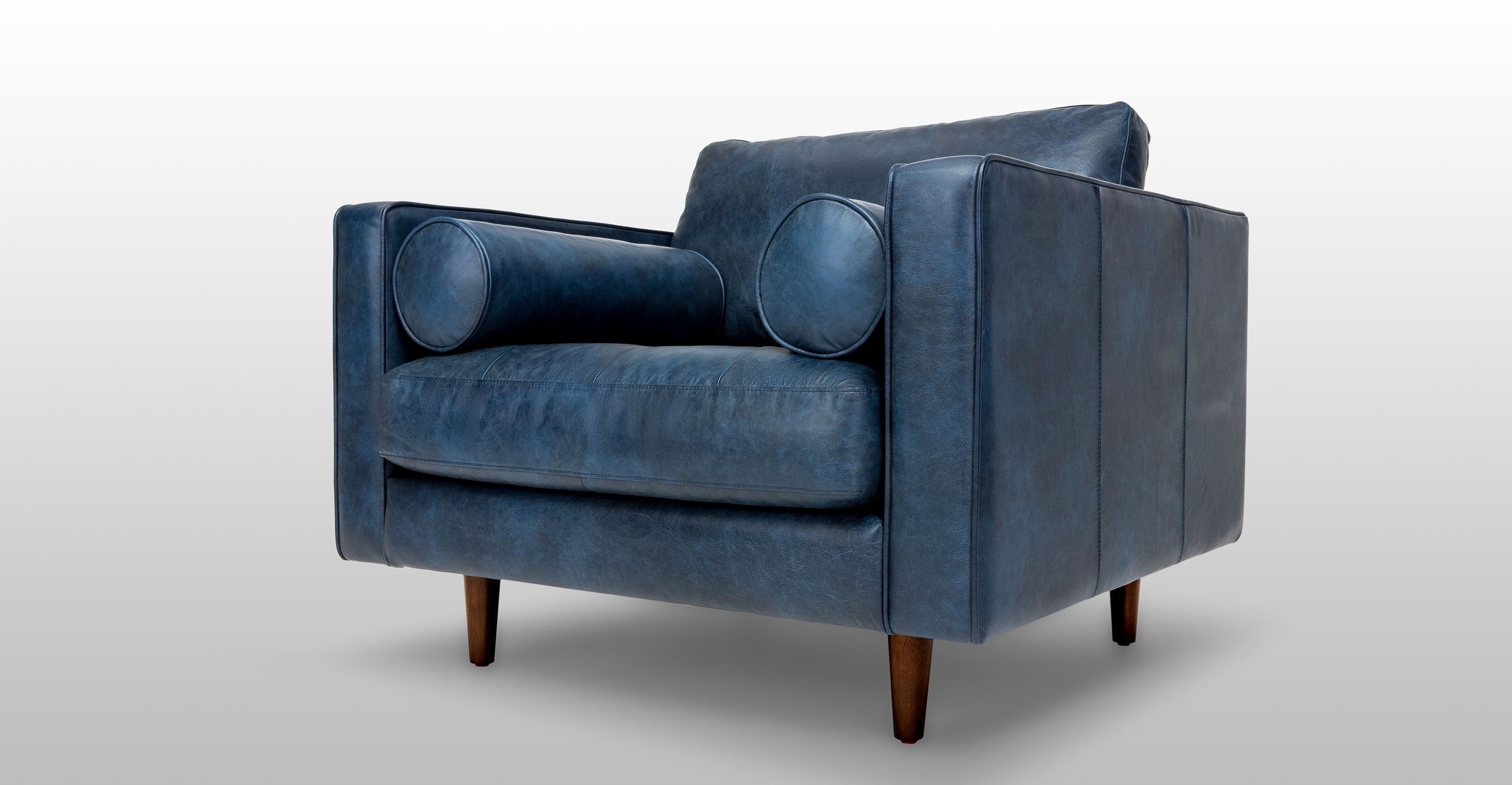 Blue Leather Chair, Tufted Seat With Bolsters | Article Sven Modern  Furniture