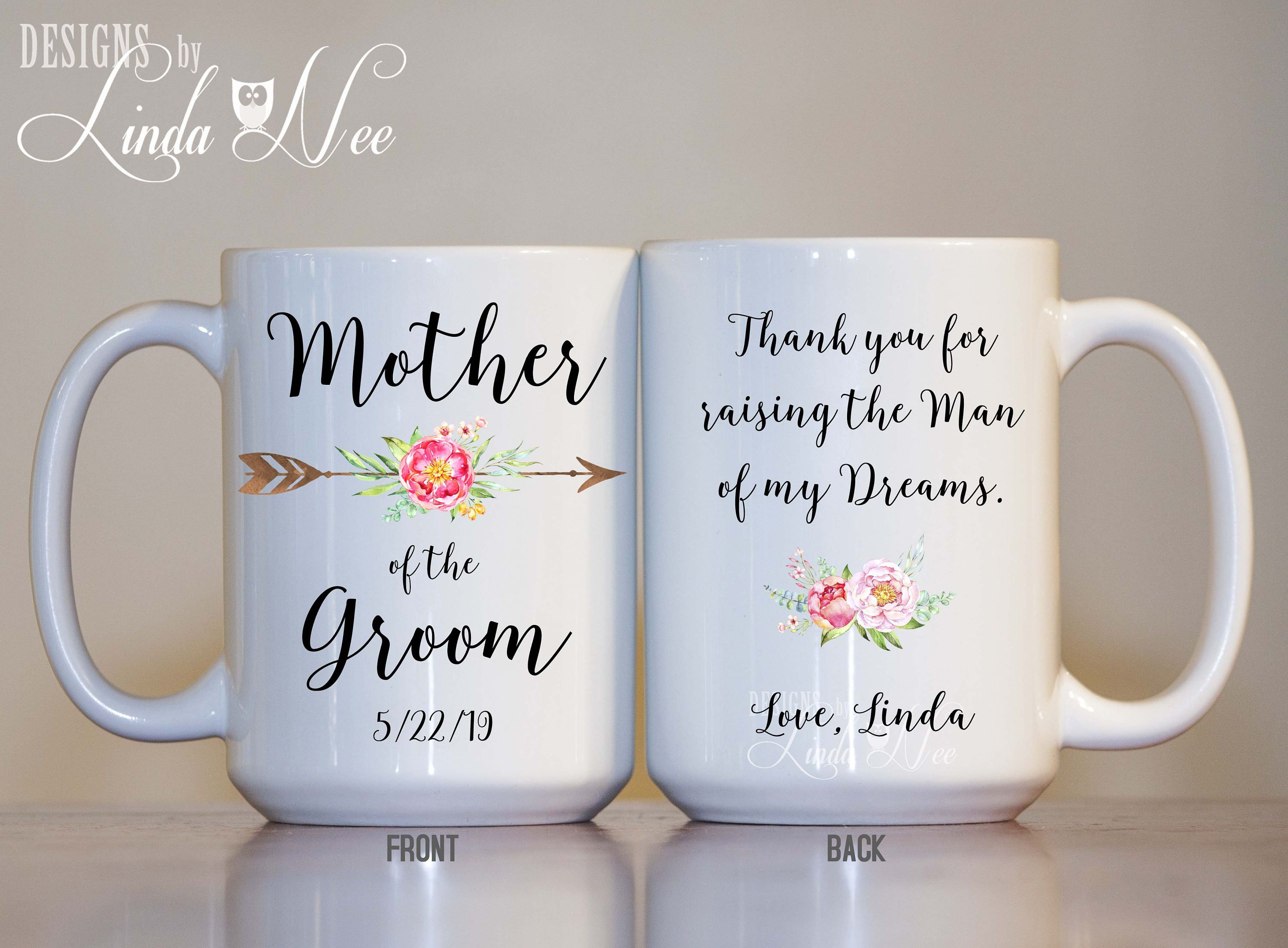 c6bf50f2ee24c Personalized Mother of the Groom Mug, Thank you for raising the Man ...
