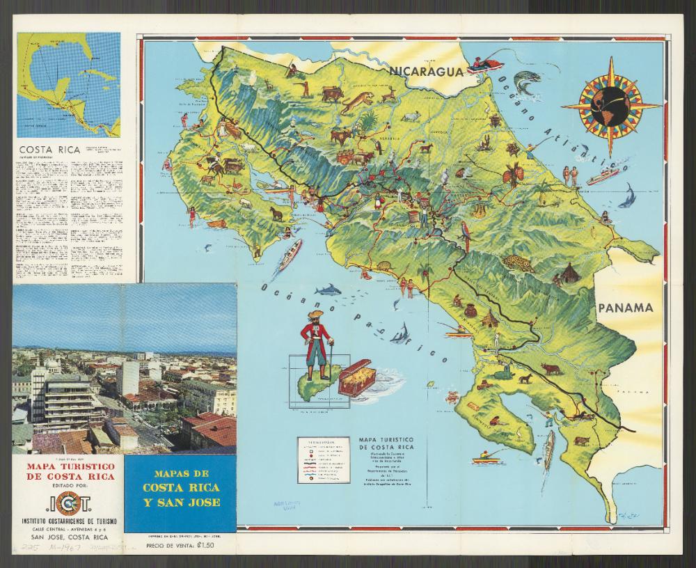 Tourist Map Of Costa Rica 1967 Tourist Map Tourist Map