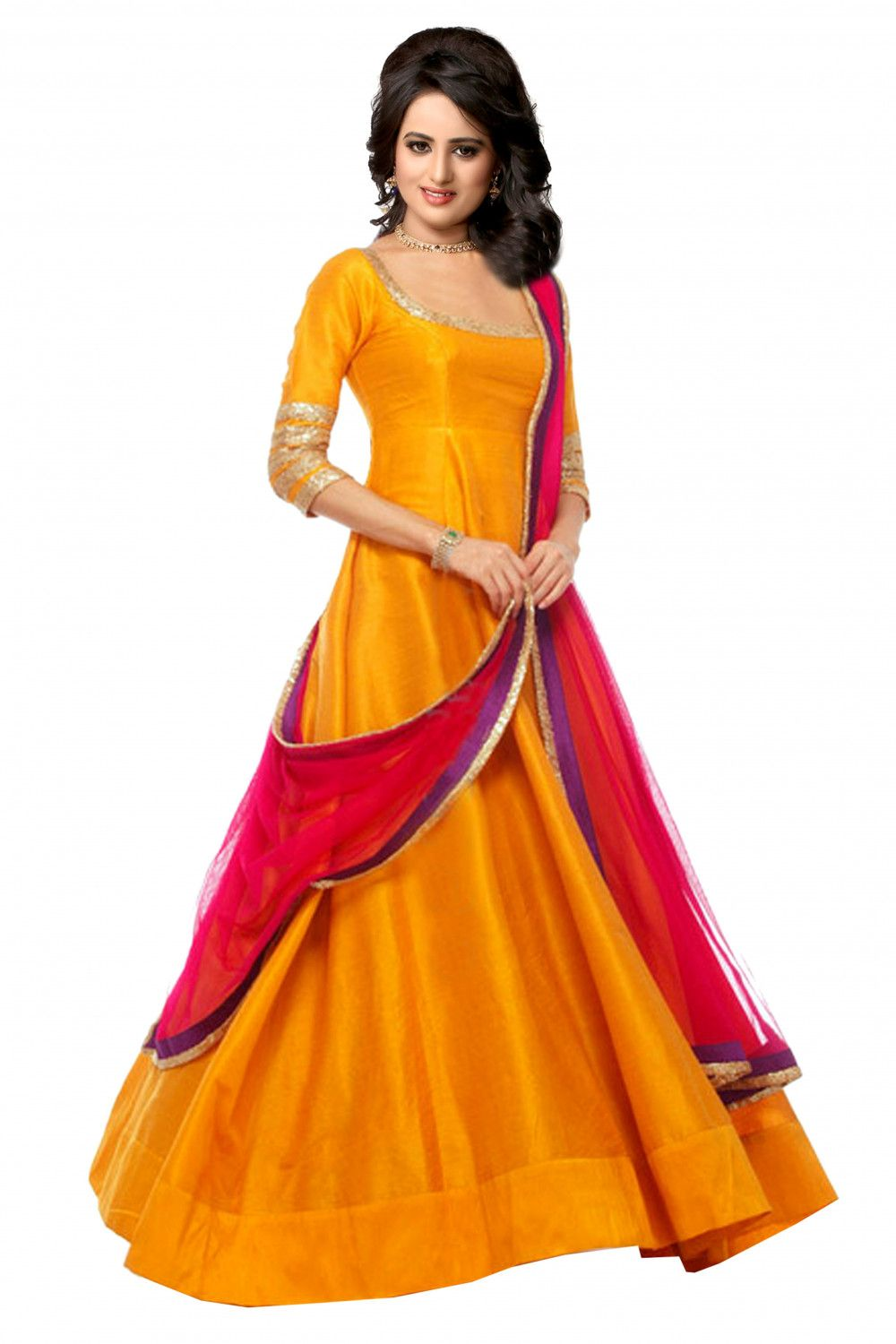 0d656d35b32 Love wearing silk because of its grace and elegance  Checkout this gorgeous  mustard banglori silk anarkali dress from Kraftly and fall in love  instantly.