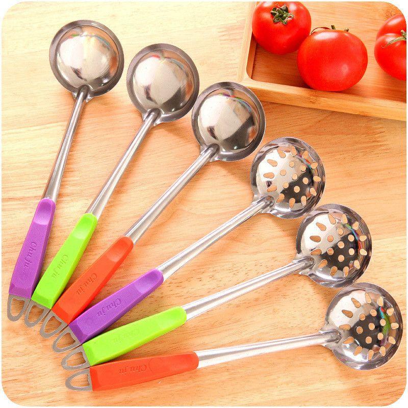 Long Handle Stainless Steel Cooking Utensils Colander Modern Kitchen Gadget BL