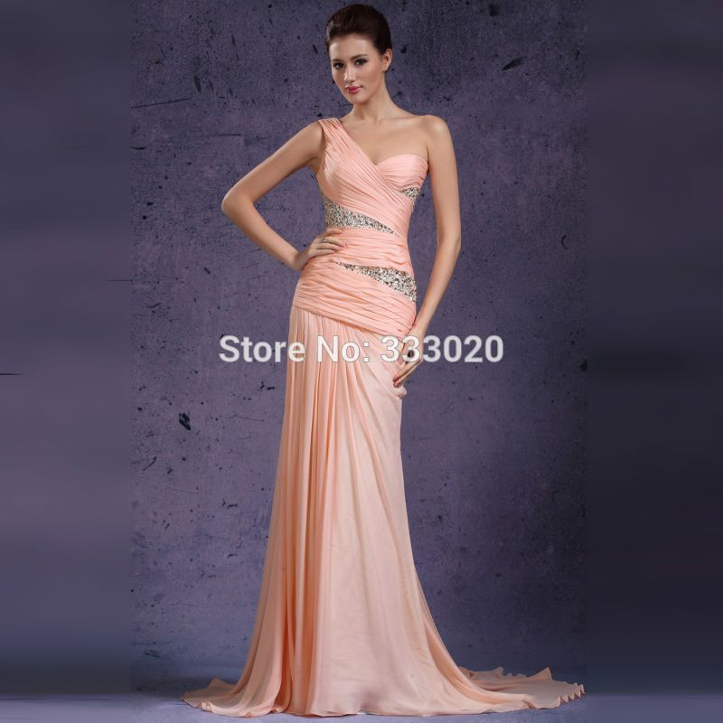 One Shoulder Chiffon Beaded Sparkly Pink Long Fitted Prom Dress ...