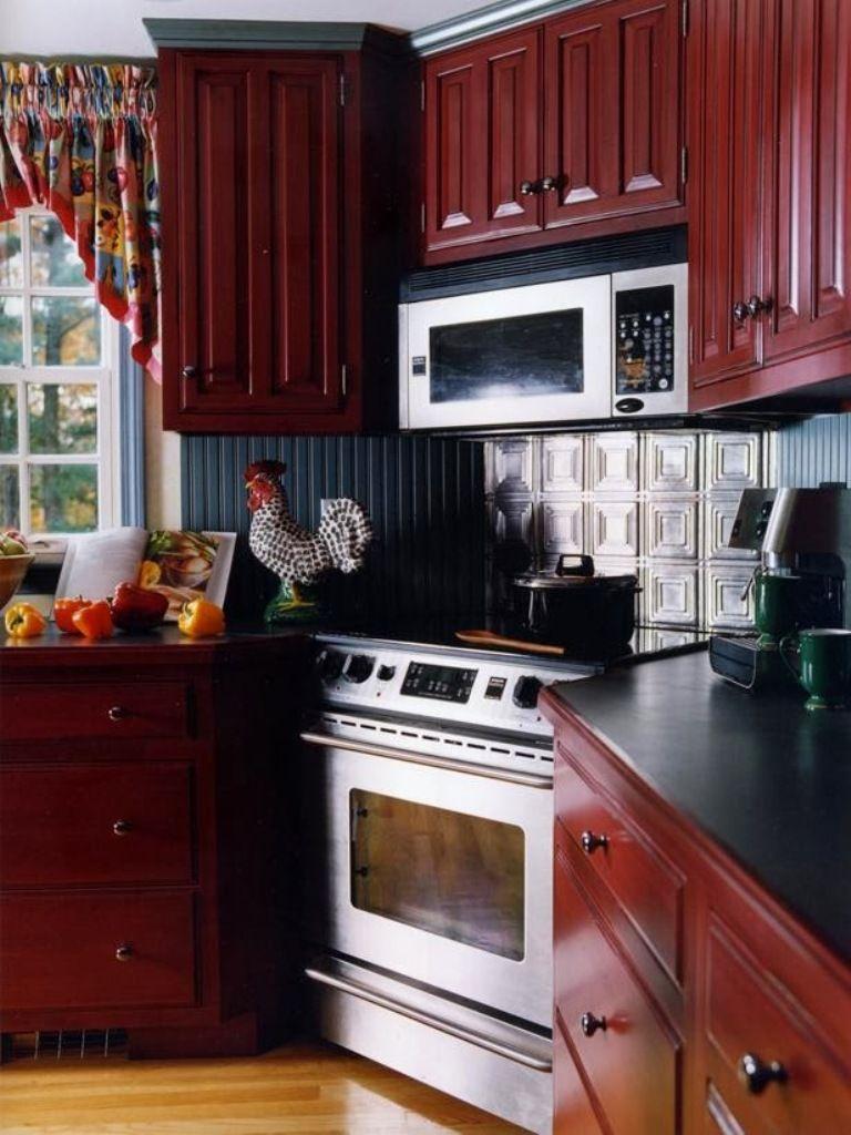 Love The Faux Tin Tiles Backsplash Too Image Of Kitchen Cabinet