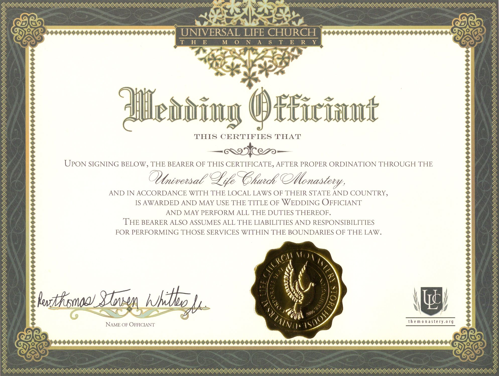 certificate license minister template officiant church universal certificates ministers ohio ceremonies dannybarrantes