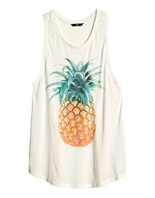 H Top with Pineapple Print