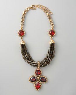 Y10LQ Oscar de la Renta Crystal Pendant Necklace