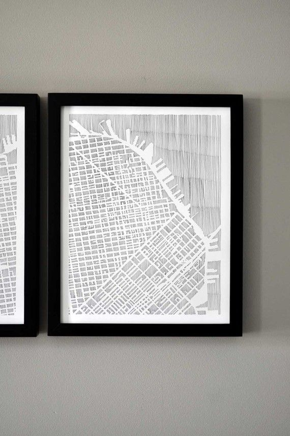 the san francisco map diptych has 1 continuous image and both panels are sold together as a set.    each panel is 11 length x 14 height  thin vertical