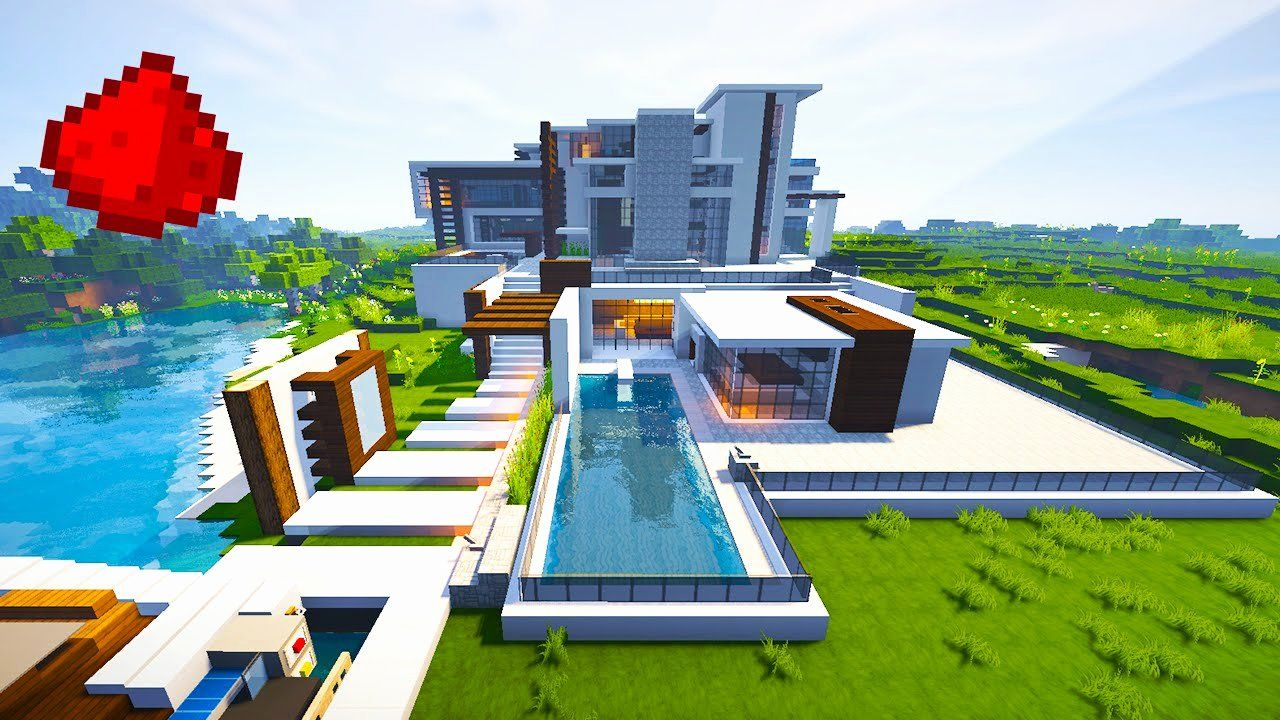 Minecraft Modern House Maps Awesome Modern Mansion W some Redstone