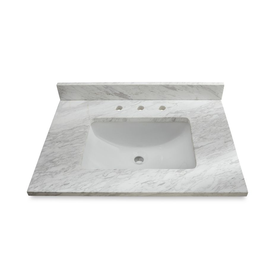 Ariston Natural Marble Undermount Single Sink Bathroom Vanity Top (Common:  31 In X