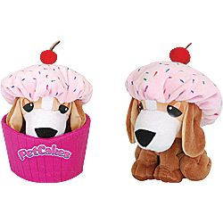 """Petcakes Plush Beagle - Twinkle Sprinkles is a plush beagle featuring a """"pink frosting"""" hat with a cherry on top and comes nestled down in a pink cupcake wrapper!"""