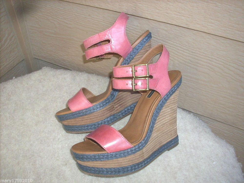 Calvin Klein Jeans Bari sandals 8.5 Rose Leather Wedge shoes MINT $109 #CalvinKlein #PlatformsWedges #Party