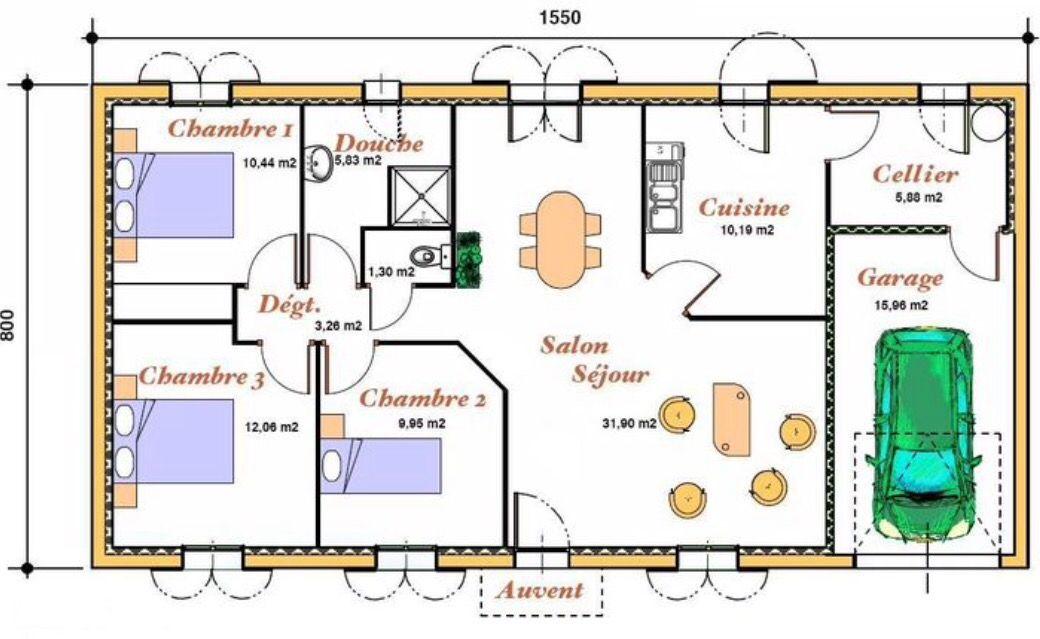 plan d'une maison plain pied 3 chambres