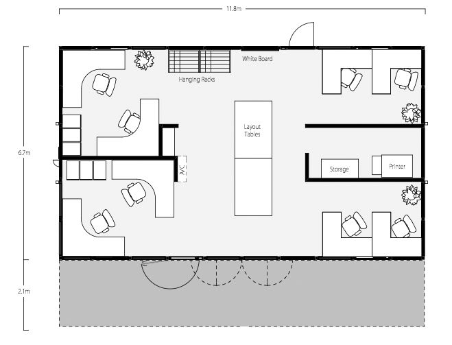 Commercial office container floor plan total square footage 640 sf two 40 39 shipping containers for Commercial bathroom square footage