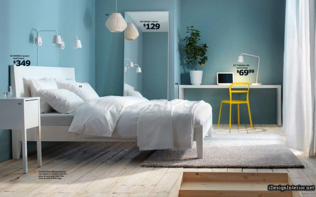 Charming Light Blue Bedroom Chambre A Coucher Minimaliste