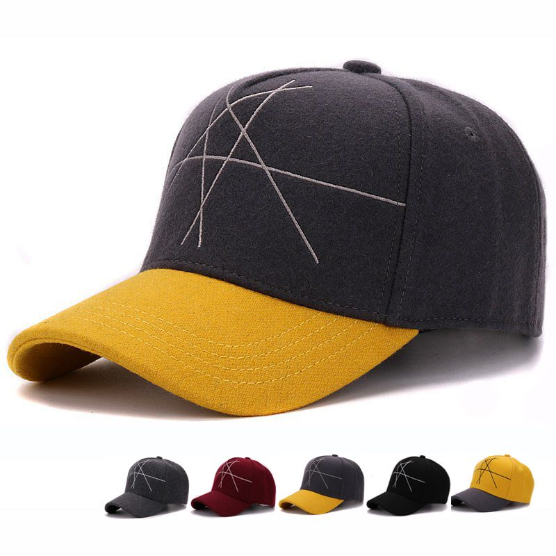 911cadb527c59 High quality thick woolen winter baseball cap with fancy geometric figure  embroidery warm hat for men and women
