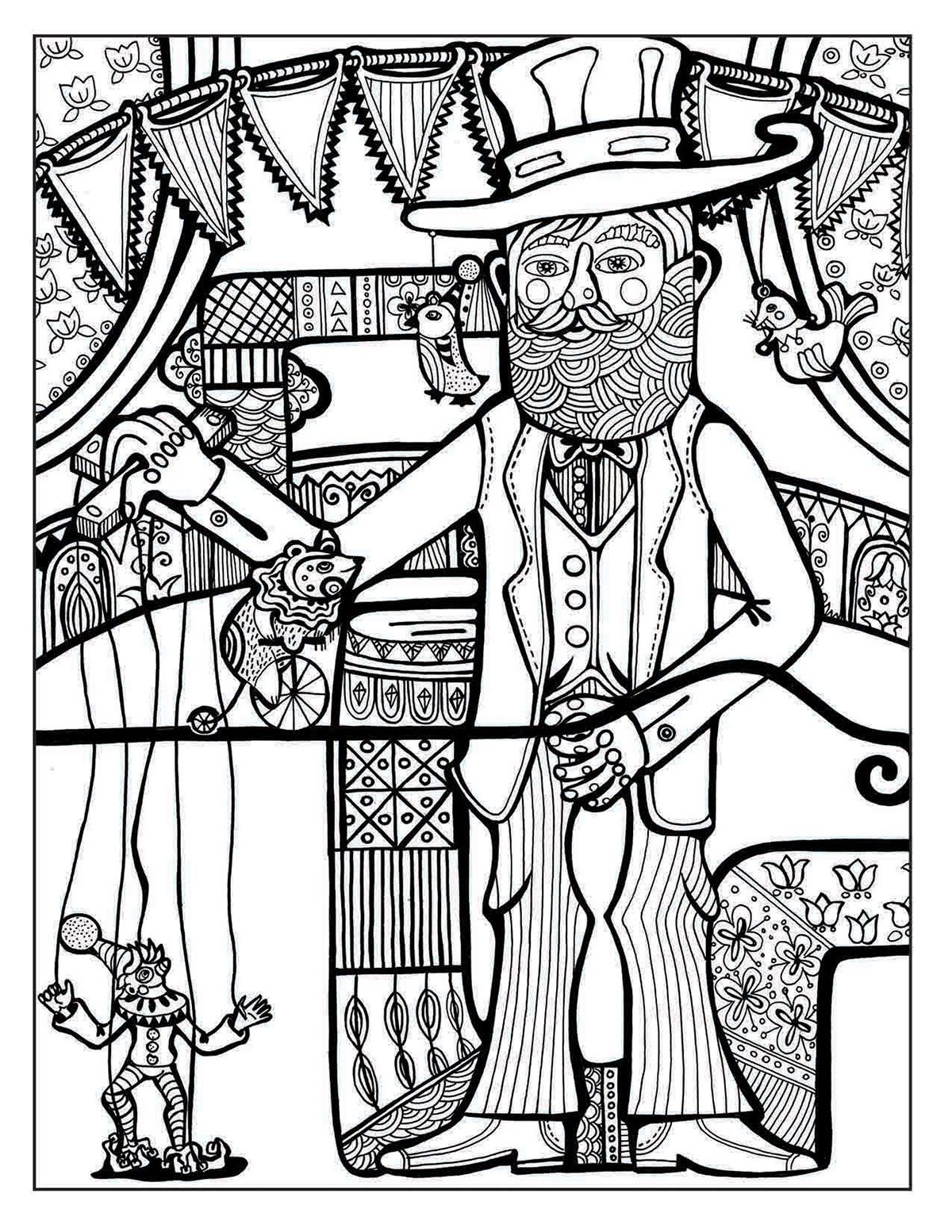 A Day at the Circus coloring page on Behance | Coloring ...