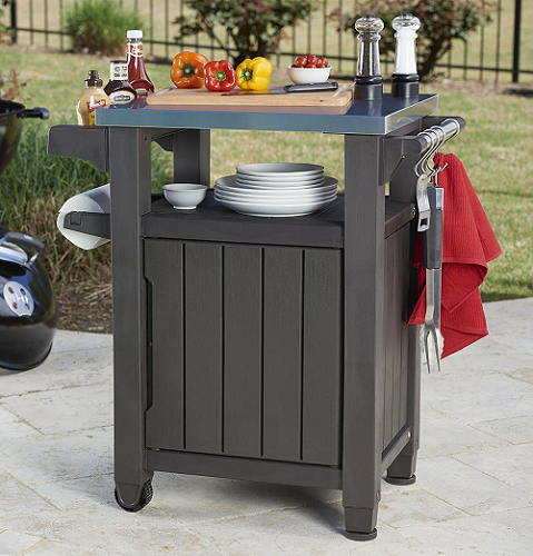 Keter Unity Indoor Outdoor Bbq Entertainment Storage Table In 2020 Patio Storage Serving Cart Outdoor Bbq