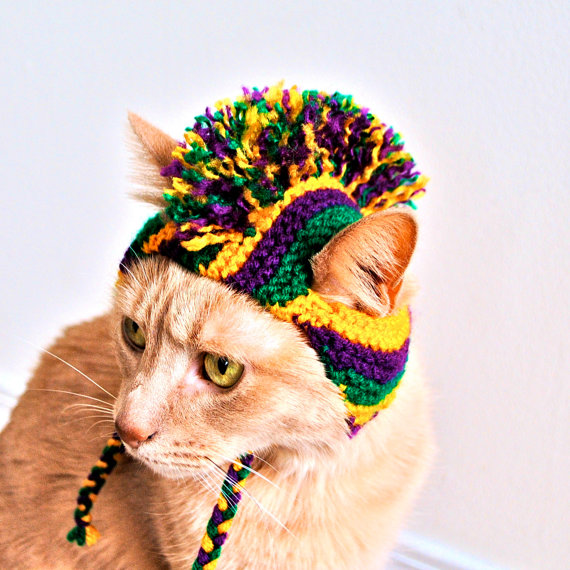 Mardi Gras Dog Costume Hand Knit Dog Hat Custom Sizing Mardi