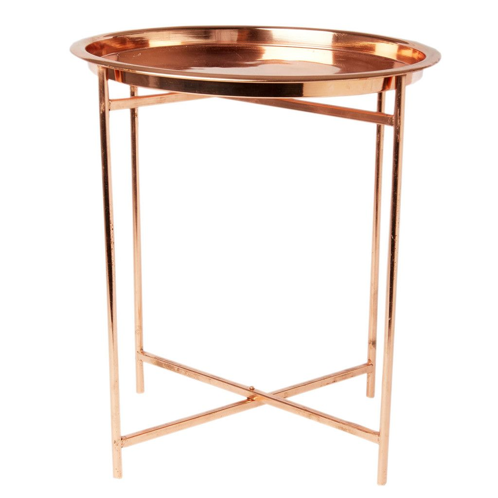 Folding Table With Removable Tray Top, Copper