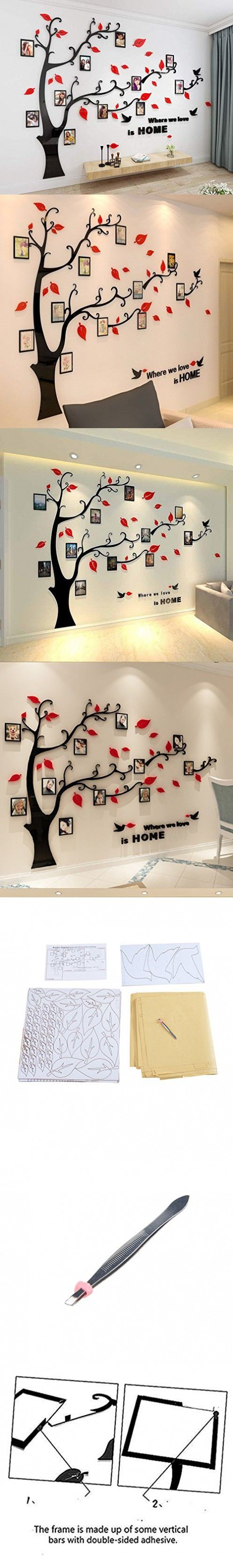 Unitendo 3d Wall Stickers Red Leaves Black Branches Wall Sticker Photo Frames Familytree Wall Decal Easy To Install Apply Diy Photo Gallery Frame Decor Sticker With Images Wall Stickers Red Wall