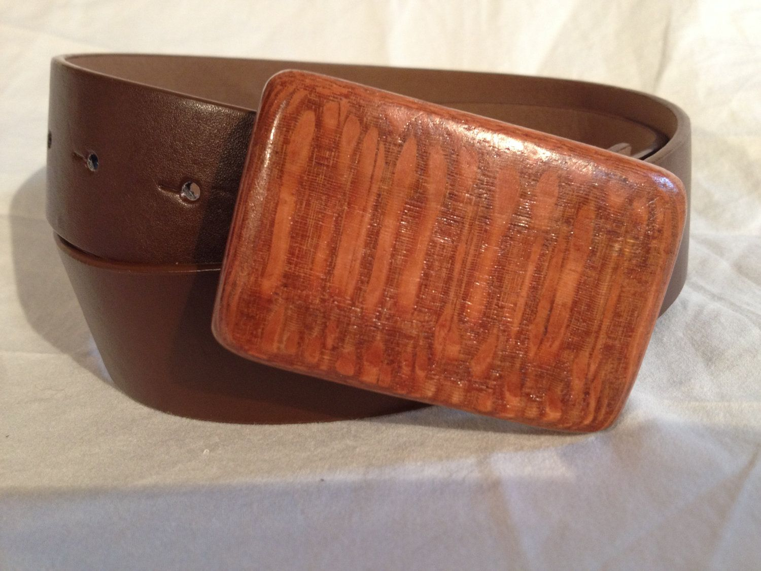 Lacewood Belt Buckle with Belt.