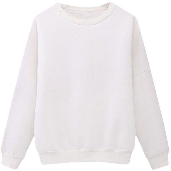 Womens Crewneck Fleece Long Sleeve Plain Sweatshirt White ( 24) ❤ liked on  Polyvore featuring tops 4b61c95d6