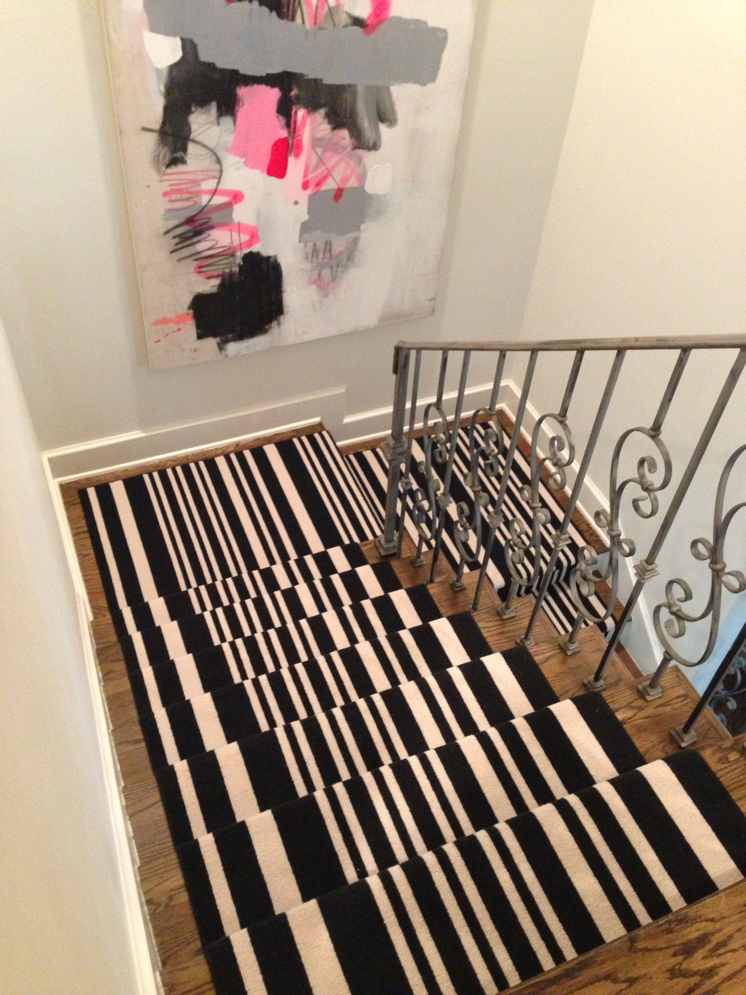 Best Sally Wheat Interiors Stair Runner Black And White 400 x 300