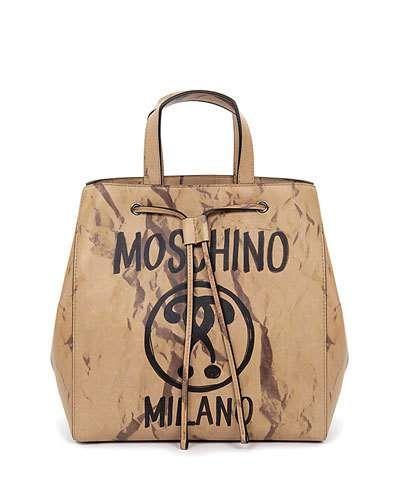 V3H7E Moschino Rat-a-Porter Medium Leather Shoulder Bag, Beige