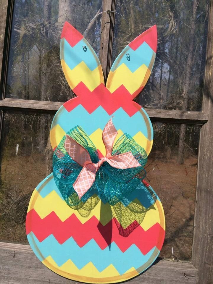 Spring Special!! Any CHEVRON print Bunny door hanger will Ship - free invoices to print