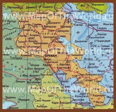 Karta Armenii Na Russkom Yazyke Karta Armeniya Turist