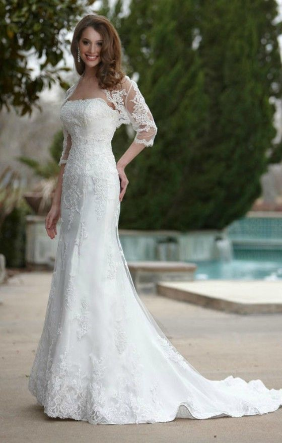 Elegant lace mermaid wedding dress for older brides over for Older brides wedding dresses