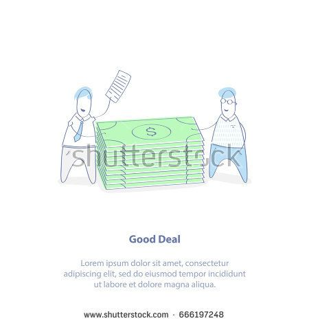 Flat Line Icon Illustration Of Business Deal Making Or Partnership