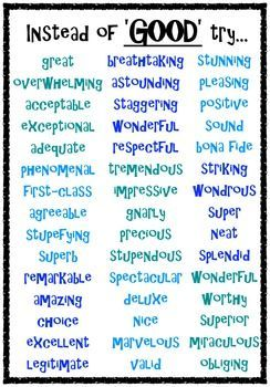 synonym word better writing think words posters synonyms english teacherspayteachers bad many times grammar another very boring positive bunch said